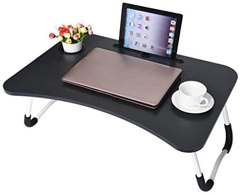 A Bed Desk Portable Tray Laptop Table Notebook Stand Reading Holder with Foldable Legs /& Cup Slot Reading Book Watching Movie on Bed//Couch//Sofa