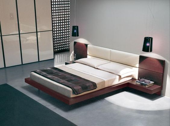 Unique Low Floor Bed Designs Model: Modern Style Floating Style Low Floor  Bed Designs White Gloss Wardrobe Grey Flooring ~ enjoyf.com Bedroom Desig