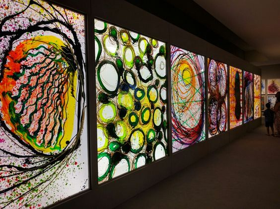 Huge painted glass panels by Dale Chihuly on temporary exhibit at the Wichita…