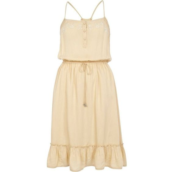 River Island Beige floral embroidered frill hem cami dress ($61) ❤ liked on Polyvore