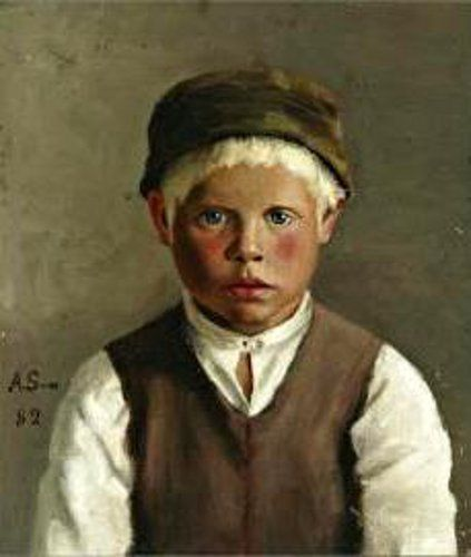 Portrait Of A Boy by Anna Sahlsten (1859 – 1931, Finnish)