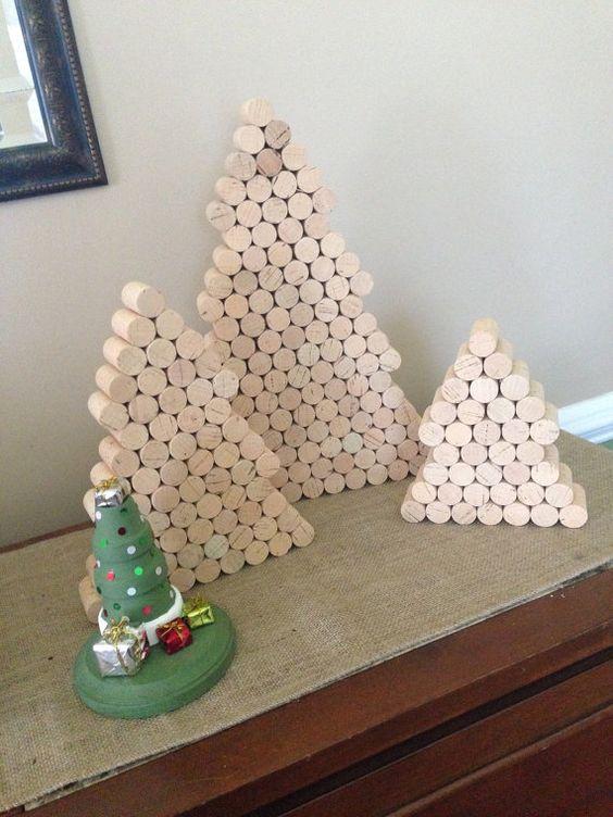 Set di 3 alberi di sughero del vino bianco Natale - rustico - personalizzare - decorazione di Natale - albero di Natale