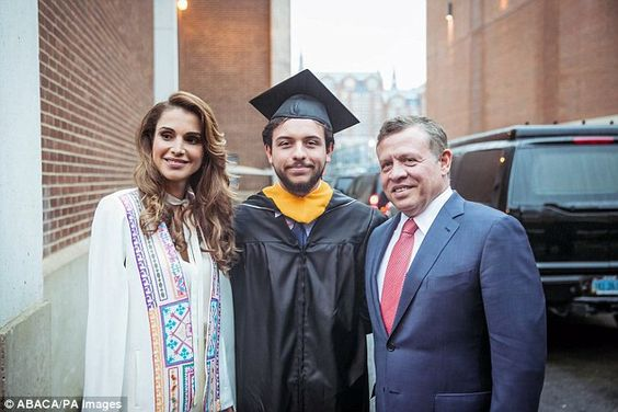 Graduation day: Queen Rania and King Abdullah of Jordan attended their son's commencement ...