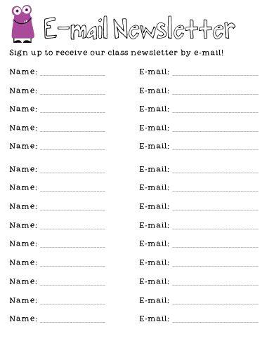 Open house parent contact sheet z Preschool Beginning of Year - e mail sign up sheet