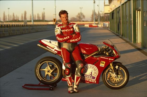 Carl Fogarty, Ducati 916, testing for 1997 race season at Misano