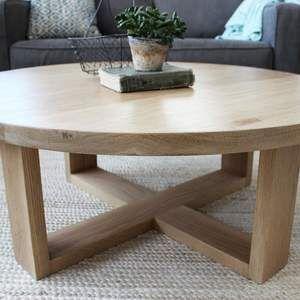 Round All Wood White Oak Coffee Table Modern Solid Wood Oak
