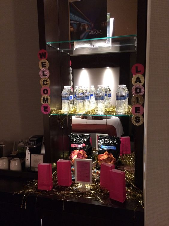 Welcome station in each of the girls hotel rooms: including  water and snacks  Bachelorette Party - Hotel Decorations - Lingerie Shower - Bachelorette Weekend