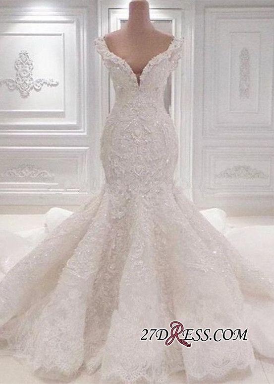 Luxurious Off The Shoulder Mermaid Wedding Dresses 2019 Lace Appliques Bridal Gowns On Sale High Quality Wedding Dresses Prom Trouwjurk Droomjurk Bruidsjurk