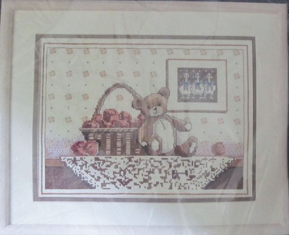 "Teddy Bear with Apples Counted Cross Stitch Kit 40247 Bucilla 9 x 12"" Sealed USA #Bucilla #Frame"