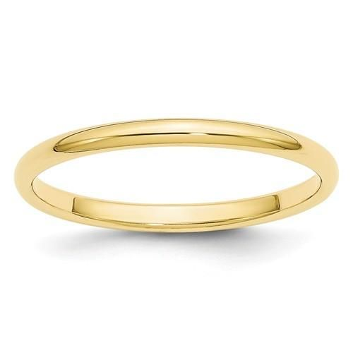 10k Yellow Gold 5mm Half Round Band Fine Jewelry Ideal Gifts For Women