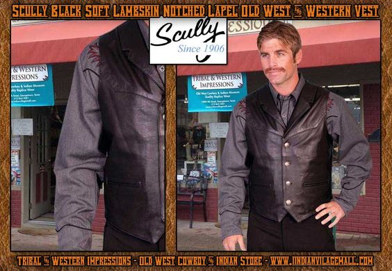 Scully Black Soft Lambskin Lapel Old West Vest From Tribal And Western Impressions- ld West Cowboy And Indian Store- www.indianvillagemall.com