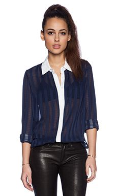BCBGeneration Plaid Button Up Shirt in Navy
