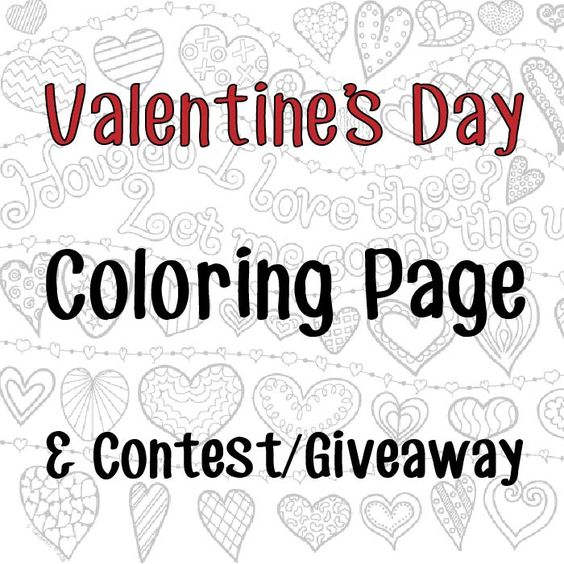 Valentine's Day Free Coloring Page (Hearts) & Contest/Giveaway - use your coloring or counting skills to enter to win a free coloring book or a $25 Amazon gift card - ends 2/15/16!
