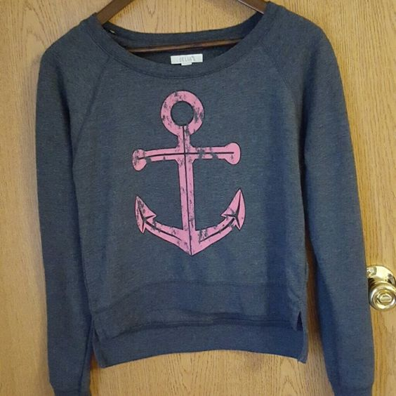Long sleeved high low top Long sleeved anchor top. It is longer in the back. Very Cut. Worn but in excellent condition. Tops Tees - Long Sleeve