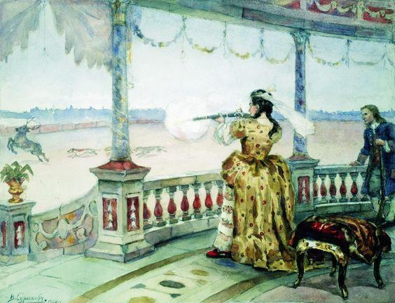 Императрица Анна Ивановна в петергофском «Темпле» стреляет оленей