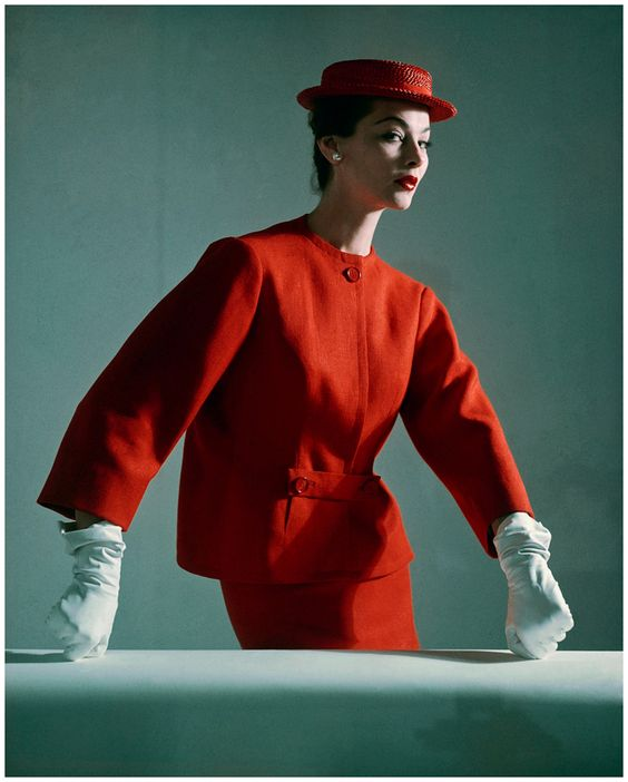 balmain 1952 vintage fashion designer couture early 50s boxy jacket suit red skirt matching hat gloves color photo print ad model magazine