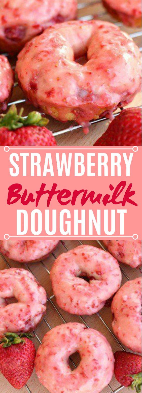 Strawberry Buttermilk Doughnuts #desserts #strawberry
