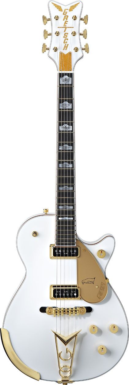 "G6134 White Penguin™ by Gretsch® Electric Guitars - ""A veritable holy grail among classic electric guitar aficionados, the Gretsch White Penguin combines the gold and glitter of the Falcon with the sleek style of the Duo Jet."" 