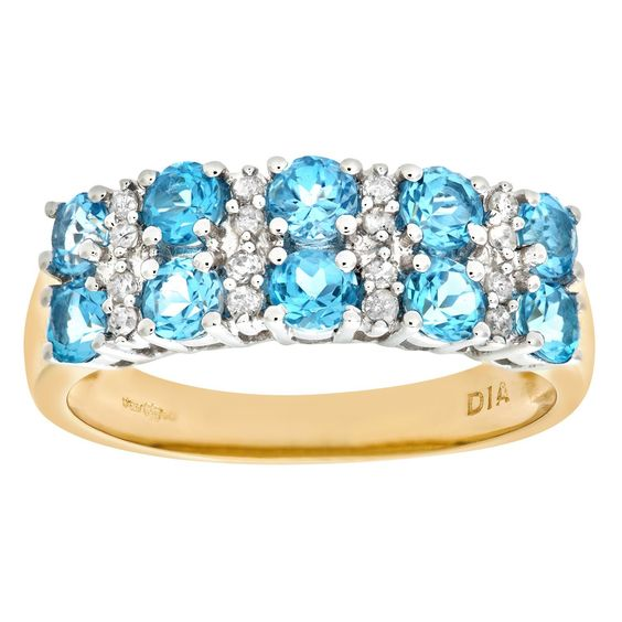 Bague - PR6446DIA+BLUE TOPAZ(I) - Femme - Or jaune (9 carats) 3.01 Gr - Topaze…