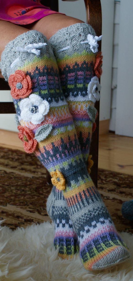 Knitting Pattern For Over The Knee Socks : decorative flowers on knit knee socks Knitting ...