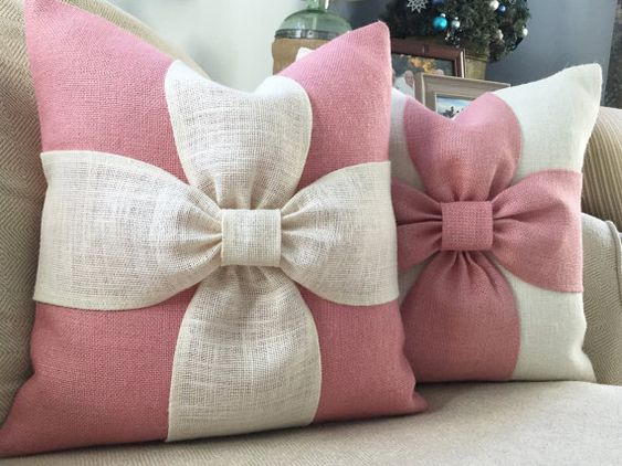 Burlap bow pillow cover in blush pink and off white burlap 18x18: