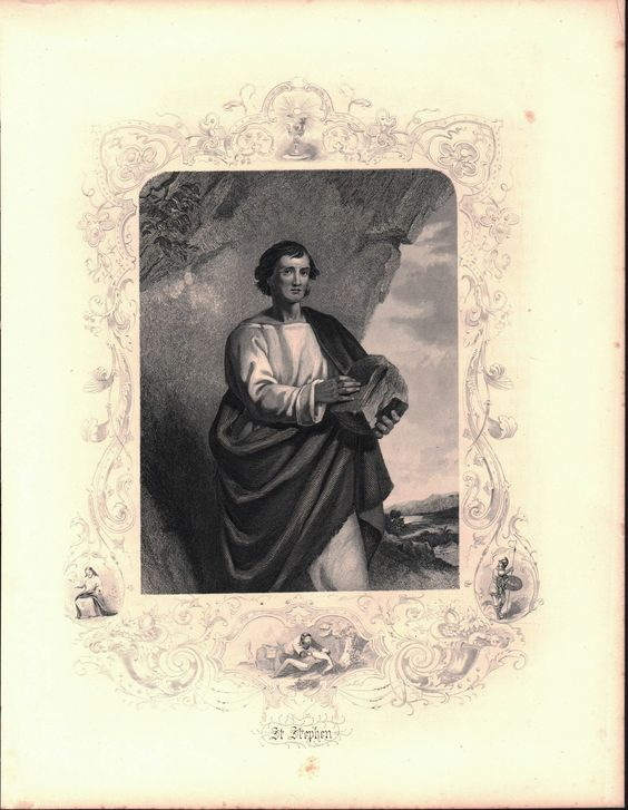 Saint Stephen 1868 Antique Bible Original Engraving Print