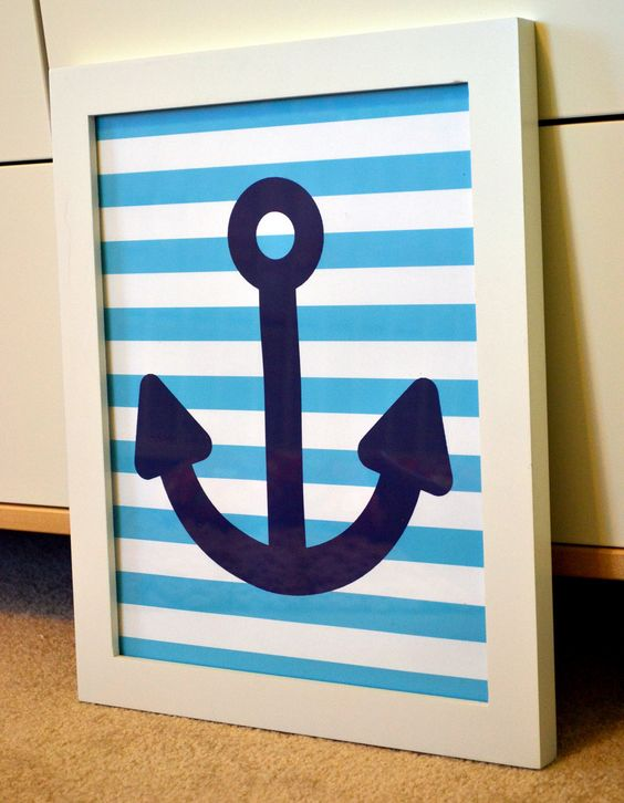 Anchor 8x10 print- nautical nursery wall art- light blue and navy- nautical baby shower decor ...