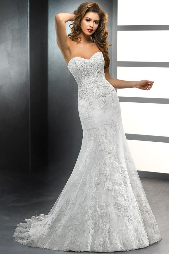 Trumpet style wedding gown stunning for a small frame.. Add a ...