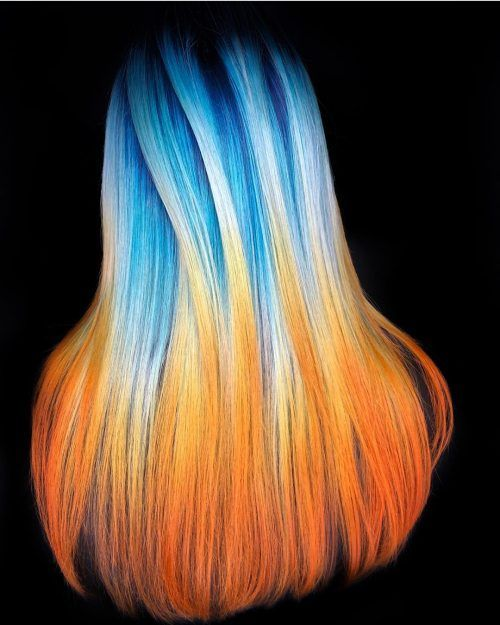 Hot Blue Orange Flame Hair Color Best New Hair Styles Flame Hair Hair Color Orange Creative Hair Color