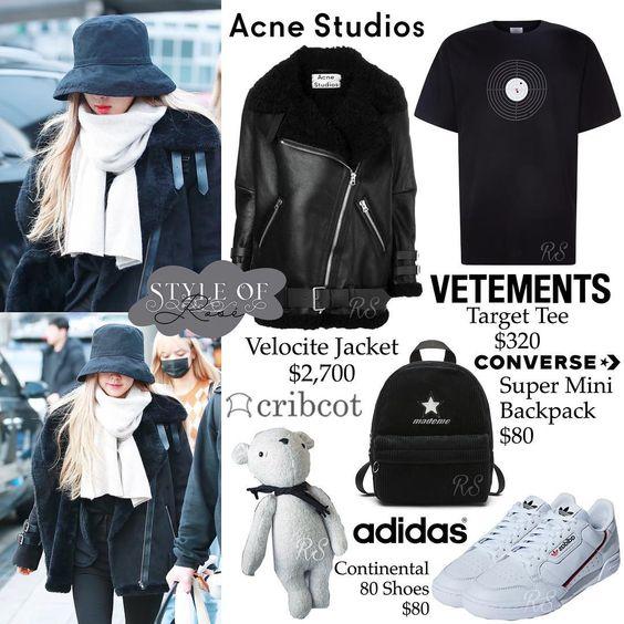 *⑅୨୧ 190121 ୨୧⑅* ICN #BLACKPINK #ROSÉ ⠀ brand - VETEMENTS oversized distressed printed cotton-jersey t-shirt brand - ACNE STUDIOS velocite…