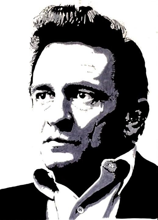 Johnny Cash Johnny Cash Art Monochrome Painting Johnny