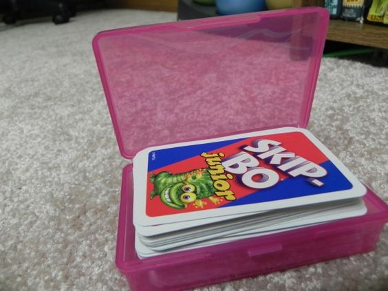 When those flimsy cardboard card game boxes fall apart, use a soap holder.  Now why didn't I think of that?