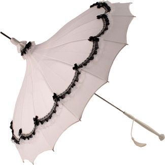 White Pagoda Umbrella . the small amount of black trim really makes it pop!: