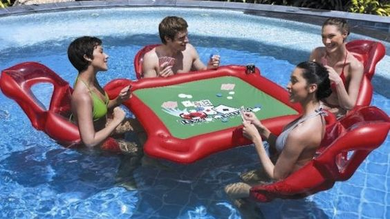 INFLATABLE pool poker table : Makes strip poker waaaay too easy
