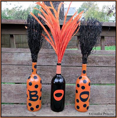 A Creative Princess: Boo Bottles Another use for those pesky wine bottles! - but without the stuff sticking out, lol