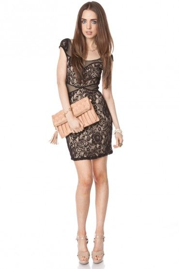 little black lace dress with nude heels &amp purse $36  M Y