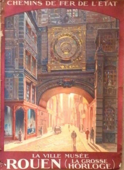 chemins de fer de l'état - Rouen - la ville musée - La grosse horloge - illustration de Pierre Commarmond - France -