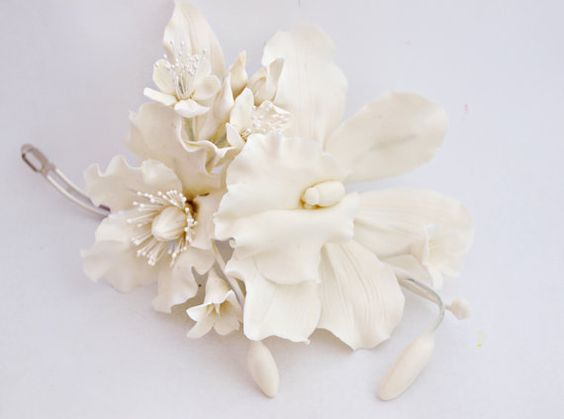 Hair Accessories Orchid, cold porcelain, jewelery bride, flower hairpin, accessory with orchid, orchid wedding, wedding accessories,