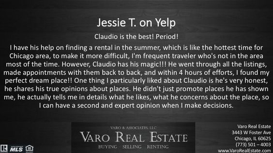 People love us on @yelp! #VaroRealEstate #RealEstate #Realtor #Chicago #Renting #Apartment #realtorlife @yelpchicago