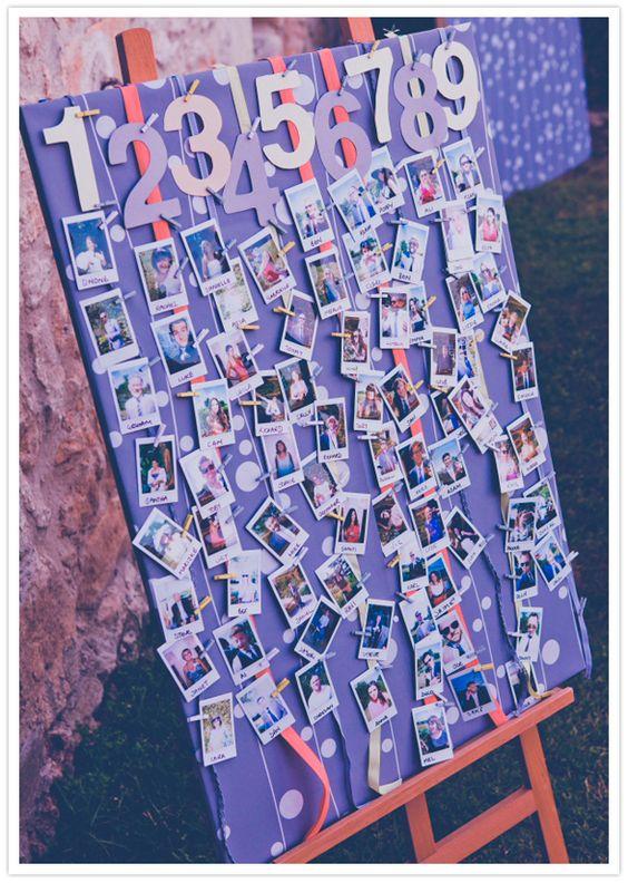 escort card polaroid board-fun concept