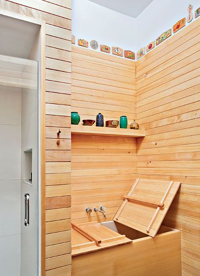 "The Bath    The Japanese soaking tub is made from hinoki, an aromatic and virtually mold- and leakproof wood. ""It feels like you are in a giant humidor,"" the owner says."