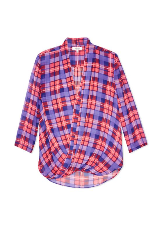 Plaid Wrap Blouse
