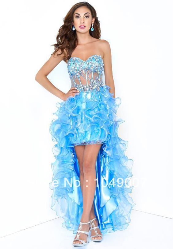 Fashion Beauty Sky Blue Sheer Crystal Ruffles Prom Dress Party Dresses-in Prom Dresses from Weddings & Events on Aliexpress.com | Alibaba Group