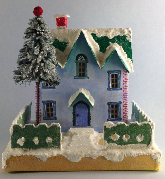 """Christmas 2015 Glitter house called the """"Blue Printie"""" because it's based on a type of putz house called a printie. My first Christmas house. Blogged about it on withglueandglitter.blogspot.com"""
