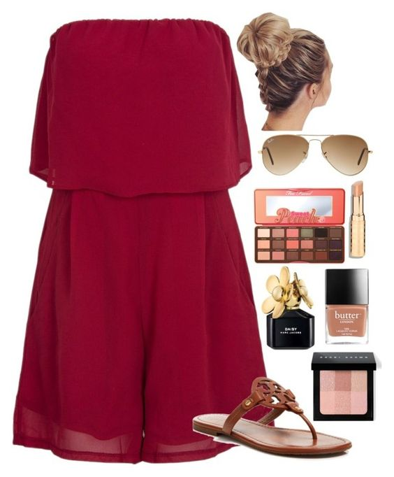 """""""How are my followers? I hope your good!"""" by lbkatie17 ❤ liked on Polyvore featuring Tory Burch, Bobbi Brown Cosmetics, Marc Jacobs, Too Faced Cosmetics and Ray-Ban"""