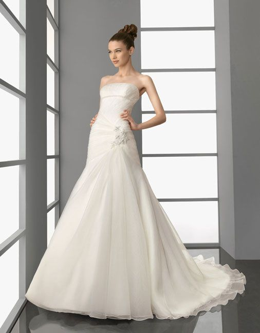 Attractive sleeveless A-line floor-length bridal gowns