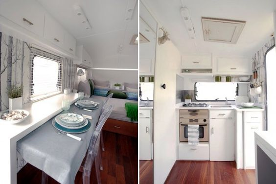 Modern remodel of a #vintage #Airstream rv. Loving the ghost chairs and Woods #wallpaper!