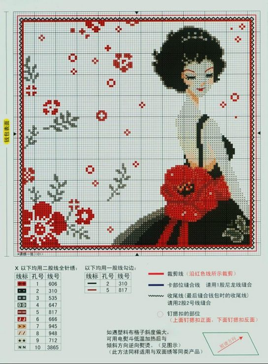 0 point de croix fille cheveux noirs et coquelicots - cross stitch black haired girl and poppies: