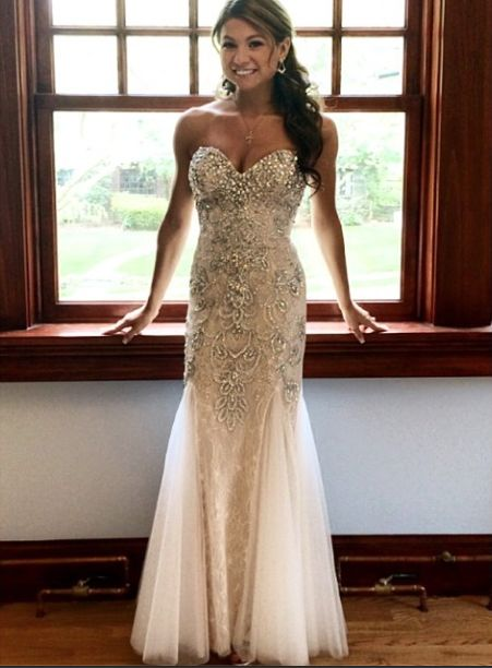 Sabrina Wears Mac Duggal Style 81719M in White. This ivory prom ...