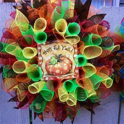 "NEW 2015. 20"", 'Happy Fall Y'all' Pumpkin Spiral Mesh Wreath in Orange, Bright Green, Red, Yellow & Brown with Brown Glitter Dot Ribbon: $45 Made by Red-y Made Wreaths. Like & Follow us on Facebook https://www.facebook.com/pages/Red-y-Made-Wreaths/193750437415618 or Visit us at http://www.redymadewreaths.com/"